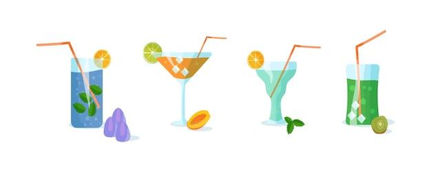 Рецепты напитков из фруктов и трав. набор коктейлей иллюстрации