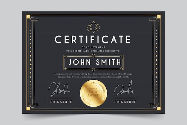 Recognition certificate template design