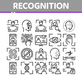 Recognition collection elements icons set