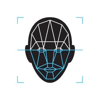 인식 아이콘입니다. 얼굴 id 신원 생체 인식 확인 기호입니다. 인증 기술 휴대폰, 스마트폰, 기타 장치.