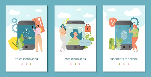 Recognition technology  illustration. face, voice, fingerprint recognizer. authentication system recognizing person identity.