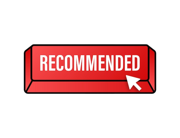 Recommend button. white label recommended on red background. vector stock illustration.