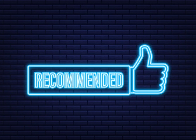 Recommend icon. white label recommended on blue background. neon icon. vector stock illustration.