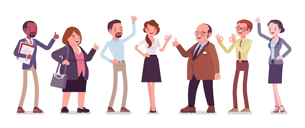 Recommendation and approval by different business workers. group of diverse people showing agreement, feeling, having a positive opinion, recommend best choice. vector flat style cartoon illustration