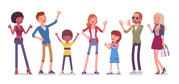 Recommendation and approval. group of diverse people showing gesture of agreement, good or acceptable, feeling, having a positive opinion, recommend best choice. vector flat style cartoon illustration