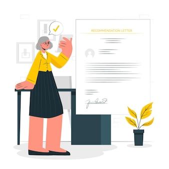 Illustrazione di concetto di lettera di raccomandazione