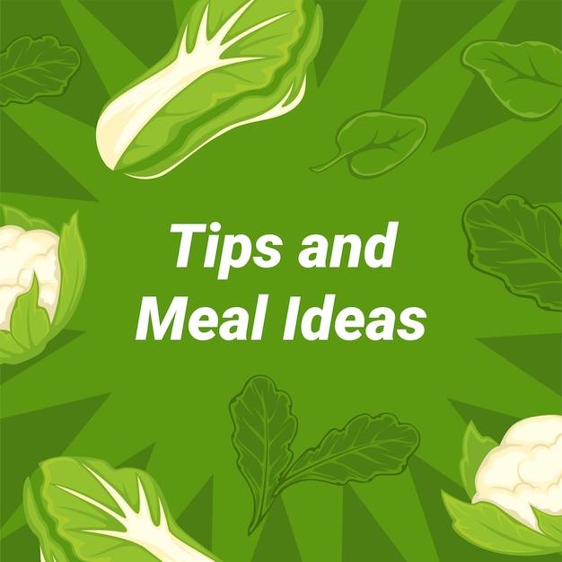 건강한 식생활, 다이어트 및 영양에 대한 권장 사항 및 조언. 채식주의자와 완전채식 식사의 소비. 청경채 잎, 비타민과 미량원소가 풍부한 샐러드. 평면 스타일의 벡터