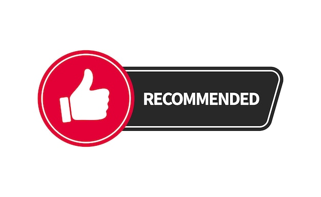 Recommended banner design with thumb up. vector flat illustration.