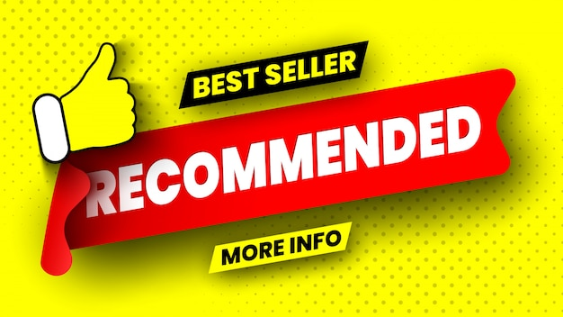 Recommended best seller banner on yellow background. red ribbon. sticker.  illustration. Premium Vector