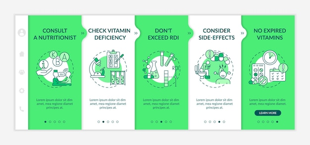 Recommended daily vitamins intake onboarding vector template