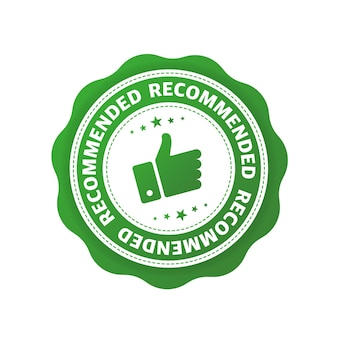 Recommended green sign for concept design good advice promotion banner concept flat design