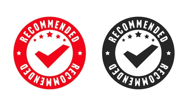 Recommended stamp original quality certification design set. commercial stencil sticker guarantee best choice and brand reliability vector illustration isolated on white background