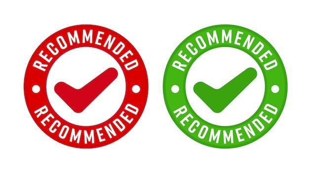 Рекомендуемый штамп с набором шаблонов дизайна галочки. знак качества продукции премиум-класса этикетка векторные иллюстрации, изолированные на белом фоне