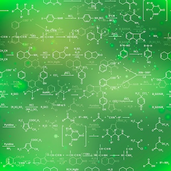 Recondite chemical equations and formulas on blurred green background, seamless pattern