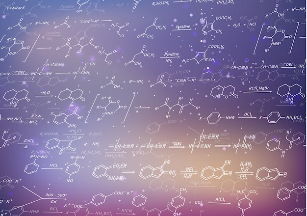 Recondite chemical equations and formulas on blurred purple background