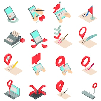 Record book icons set, isometric style