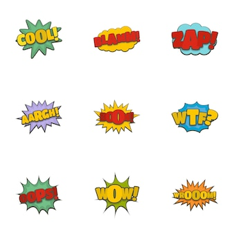 Record label icons set, cartoon style
