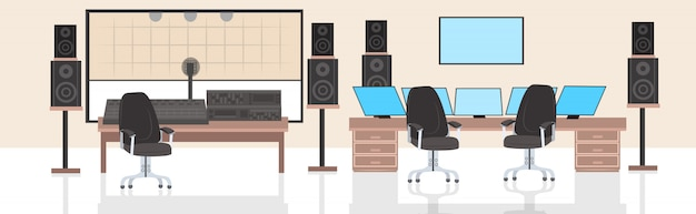Record producer audio engineer workplace no people recording studio interior horizontal