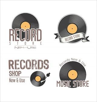 Record shop retro vintage background