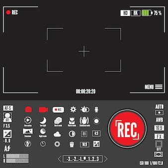 Запись видео или фото символа. экран видоискателей или предварительный просмотр видеозаписей