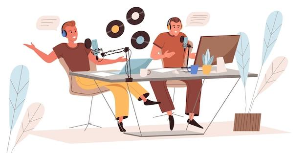 플랫 스타일로 오디오 팟 캐스트 웹 일러스트레이션 녹음