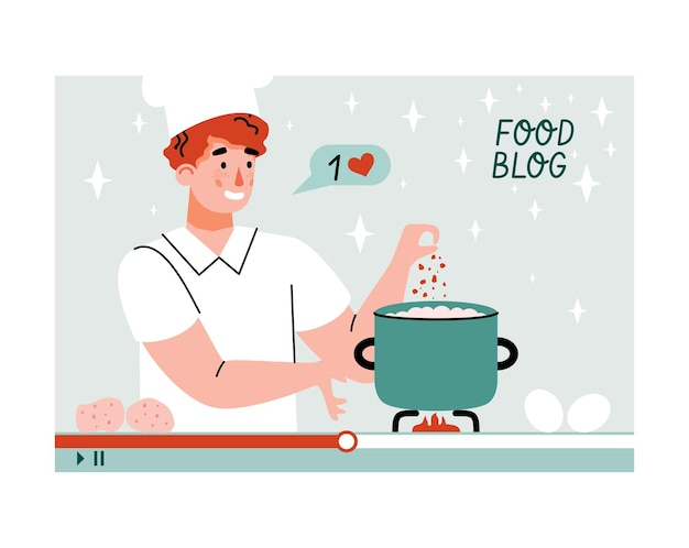 Recording of food blog with blogger cooking online cartoon vector illustration