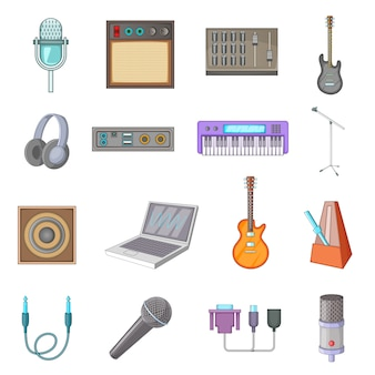 Recording studio icons set