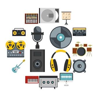 Набор иконок студии звукозаписи в плоском стиле