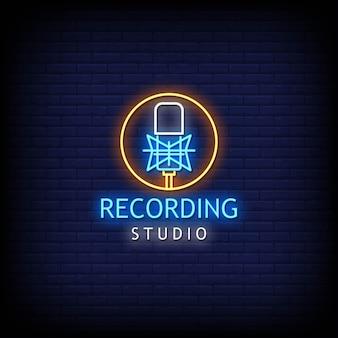 Recording studio logo neon signs style text