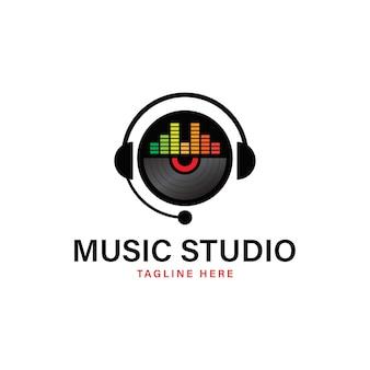 レコーディングスタジオのロゴのベクトル図