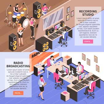 Recording studio and radio broadcasting horizontal banners with music band announcer and newscasters isometric