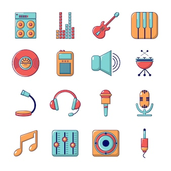 Recording studio symbols icons set
