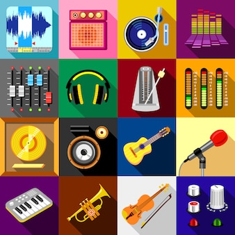Recording studio symbols icons set.