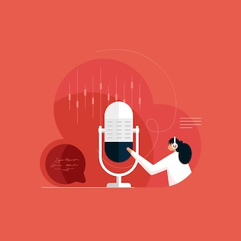 Recording studio with broadcast technology live on air radio podcast microphone element
