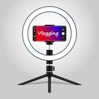 Recording vlog using mobile with tripod vlogging concept ring light