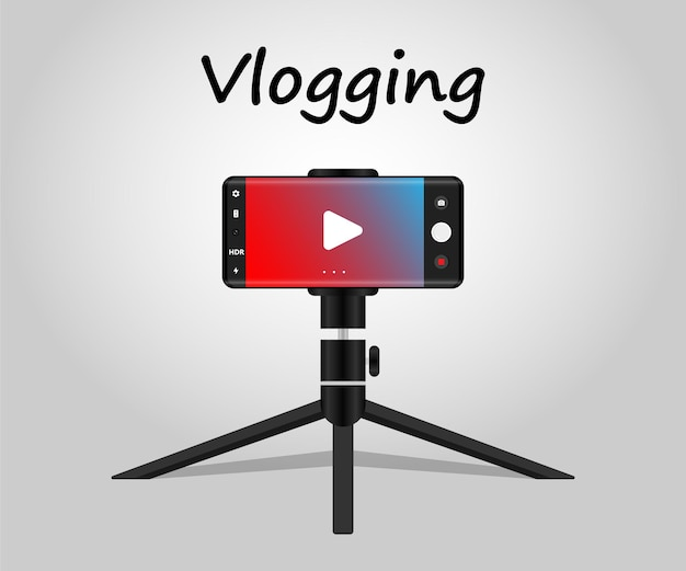 Recording vlog using mobile with tripod vlogging concepy