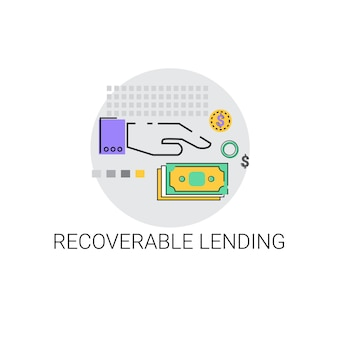 Recoverable lending business funding concept icon