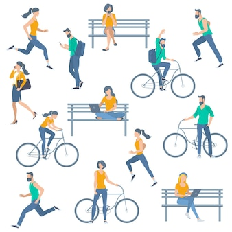 Recoveredyoung man woman outdoor activities running walking cycling sitting chatting reading in the park at the bench flat design vector illustration concept for web site presentation mobil