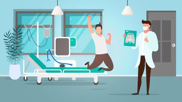 폐 질환 환자의 회복. 의사는 폐에 대한 긍정적 인 그림을 가지고 있습니다. 한 남자가 기쁨을 위해 점프하고 있습니다. 병동, 병원, 환자. .