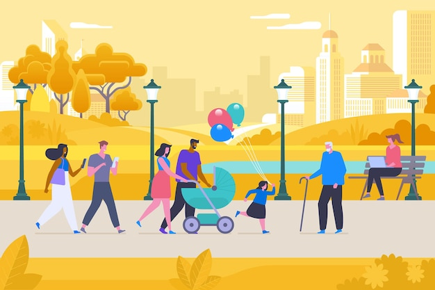 Recreation in autumn park flat vector illustration. happy men, women and kid outdoors cartoon characters. parents with pram and young couple on stroll. girl with grandfather, woman working with laptop