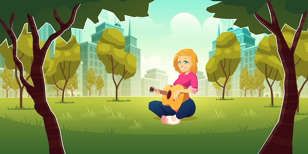 Recreation and enjoying music hobby in modern metropolis cartoon