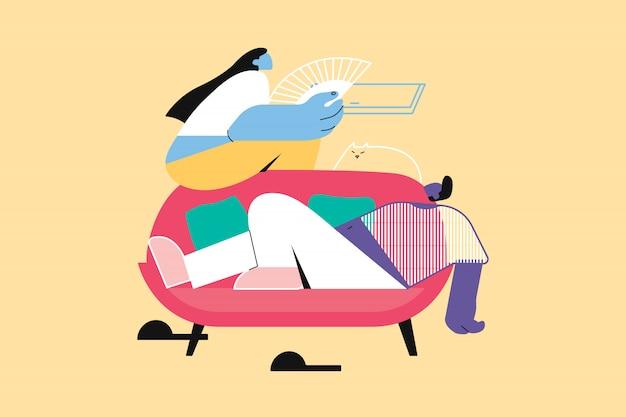 レクリエーション、夏、残り、カップル、怠惰の概念