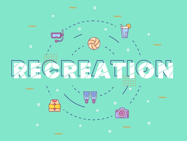 Recreation typography calligraphy lettering around summer icon with outline style