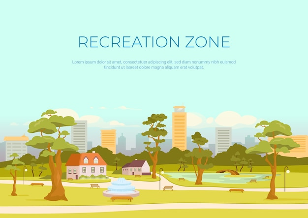 Recreation zone banner flat template. rest in city. urban park. brochure, booklet one page concept design with cartoon landscape. square for outdoor recreation horizontal flyer, leaflet