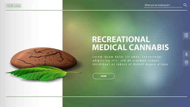 Recreational medical cannabis, discount banner for website with cannabis cookies with leaf of cannabis