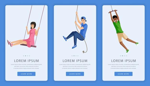 Recreational summer center mobile app screens. girl and boys swinging on rope swing   illustration.