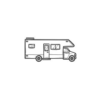 Rv車の手描きのアウトライン落書きアイコン。キャンピングカーとrv、キャンピングカーとキャラバン、トランベルのコンセプト。白い背景の上の印刷、ウェブ、モバイル、インフォグラフィックのベクトルスケッチイラスト。