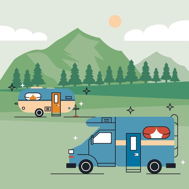 캠프 장면의 레크리에이션 차량