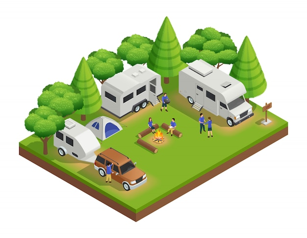 Recreational vehicles isometric composition with trailer people and forest