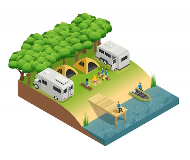 Recreational vehicles at lake isometric composition with tent people and forest